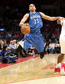 Kevin Martin of the Minnesota Timberwolves jumps to avoid contact as he drives against the Los Angeles Clippers at Staples Center on March 9 2015 in...
