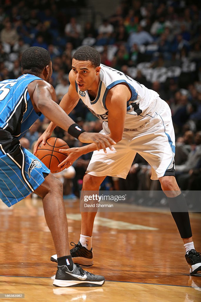 Kevin Martin #23 of the Minnesota Timberwolves looks to pass the ball drive to the basket against the Orlando Magic during the season and home opening game on October 30, 2013 at Target Center in Minneapolis, Minnesota.