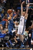 Kevin Martin of the Minnesota Timberwolves makes a pass against the Memphis Grizzlies on April 2 2014 at Target Center in Minneapolis Minnesota NOTE...