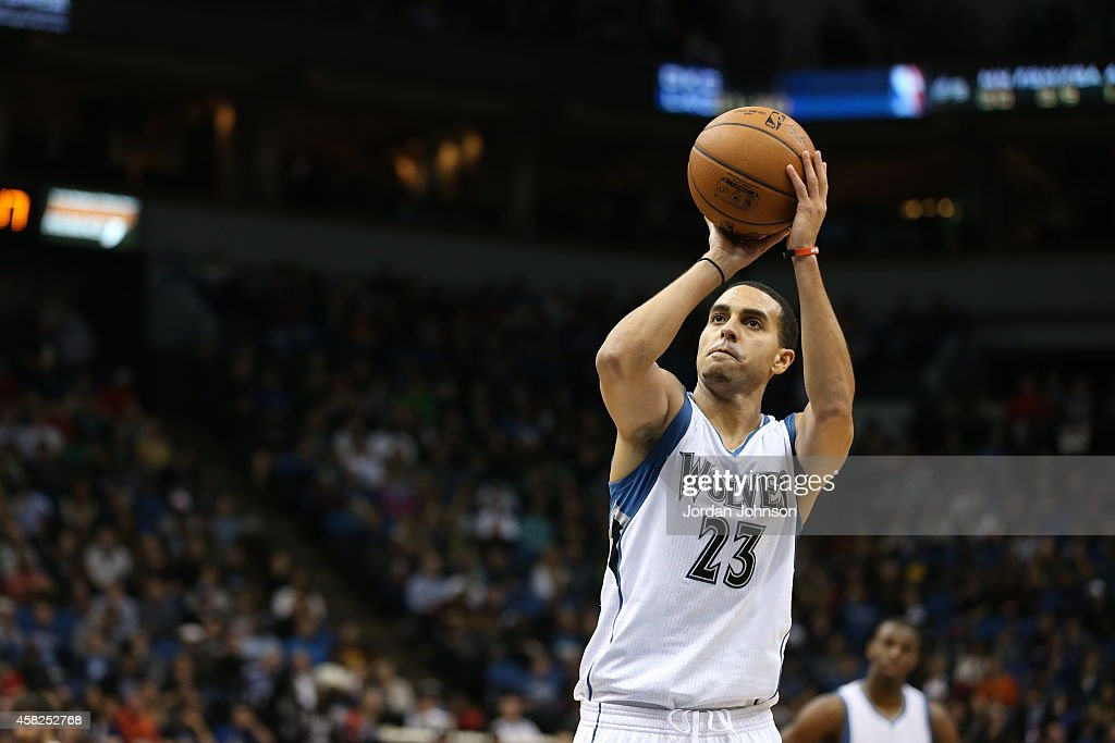 Kevin Martin of the Minnesota Timberwolves prepares to shoot a free throw against the Chicago Bulls on November 1 2014 at Target Center in...