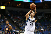 Kevin Martin of the Minnesota Timberwolves shoots a free throw against the Indiana Pacers on October 21 2014 at Target Center in Minneapolis...