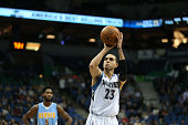 Kevin Martin of the Minnesota Timberwolves shoots a free throw against the Denver Nuggets on January 6 2016 at Target Center in Minneapolis Minnesota...