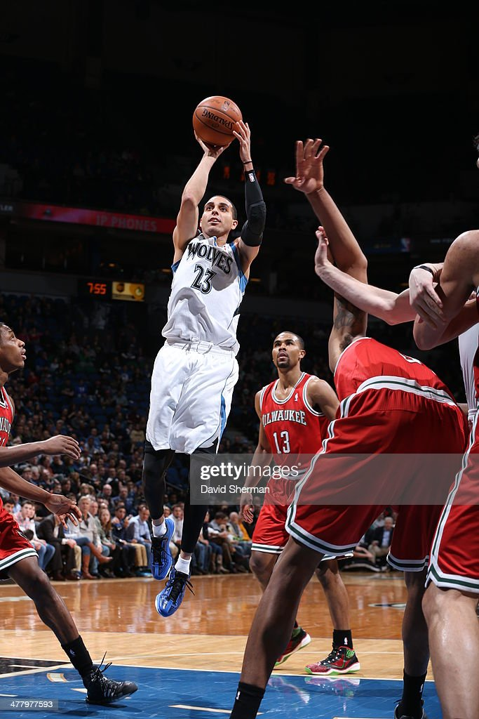 Kevin Martin #23 of the Minnesota Timberwolves shoots against the Milwaukee Bucks on March 11, 2014 at Target Center in Minneapolis, Minnesota.
