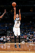 Kevin Martin of the Minnesota Timberwolves shoots against the New York Knicks on November 19 2014 at Target Center in Minneapolis Minnesota NOTE TO...
