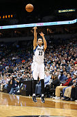 Kevin Martin of the Minnesota Timberwolves shoots against the New York Knicks during the game on November 19 2014 at Target Center in Minneapolis...