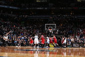 Kevin Martin of the Minnesota Timberwolves shoots near the end of the game against the Chicago Bulls on November 1 2014 at Target Center in...