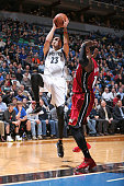 Kevin Martin of the Minnesota Timberwolves shoots the ball against the Miami Heat during the game on February 4 2015 at Target Center in Minneapolis...