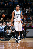 Kevin Martin of the Minnesota Timberwolves smiles during a game against the New York Knicks on November 19 2014 at Target Center in Minneapolis...