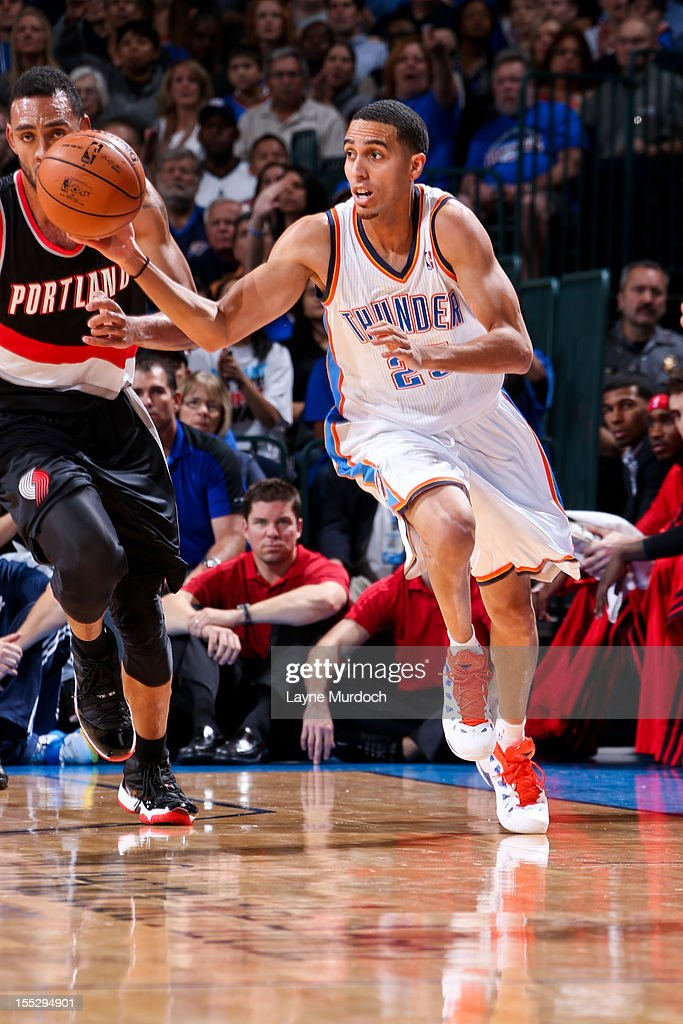 Kevin Martin #23 of the Oklahoma City Thunder drives ahead of Jared Jeffries #1 of the Portland Trail Blazers on November 2, 2012 at the Chesapeake Energy Arena in Oklahoma City, Oklahoma.