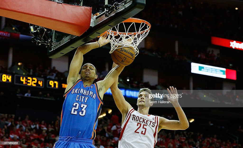 Kevin Martin #23 of the Oklahoma City Thunder dunks against Chandler Parsons #25 of the Houston Rockets in Game Six of the Western Conference Quarterfinals of the 2013 NBA Playoffs at the Toyota Center on May 3, 2013 in Houston, Texas.