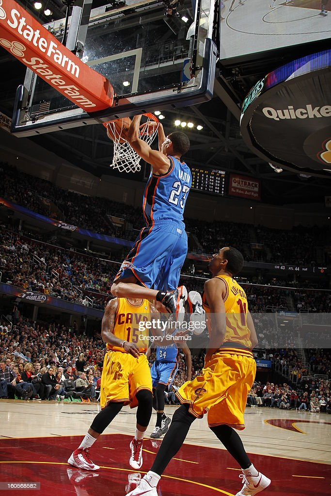 Kevin Martin #23 of the Oklahoma City Thunder dunks against Shaun Livingston #14 of the Cleveland Cavaliers at The Quicken Loans Arena on February 2, 2013 in Cleveland, Ohio.