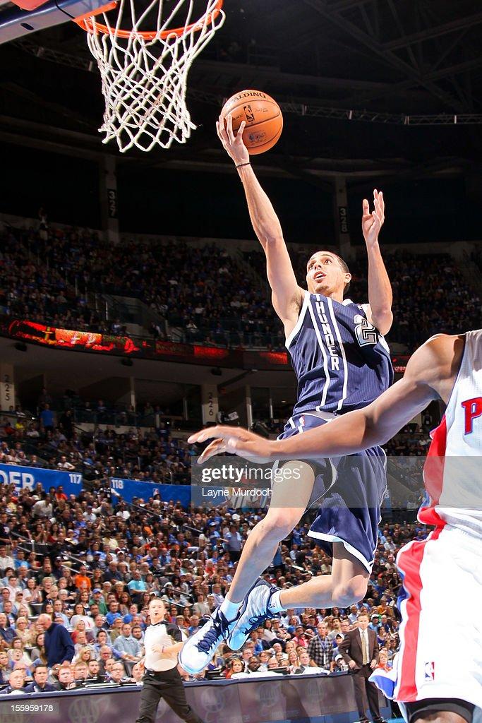 Kevin Martin #23 of the Oklahoma City Thunder goes to the basket against the Detroit Pistons on November 9, 2012 at the Chesapeake Energy Arena in Oklahoma City, Oklahoma.