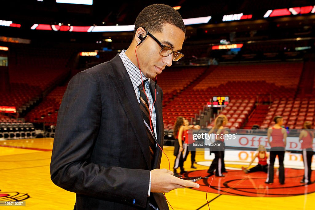 Kevin Martin #23 of the Oklahoma City Thunder listens to music on an Apple Inc. iPhone before playing against the Miami Heat in a Christmas Day game on December 25, 2012 at American Airlines Arena in Miami, Florida.