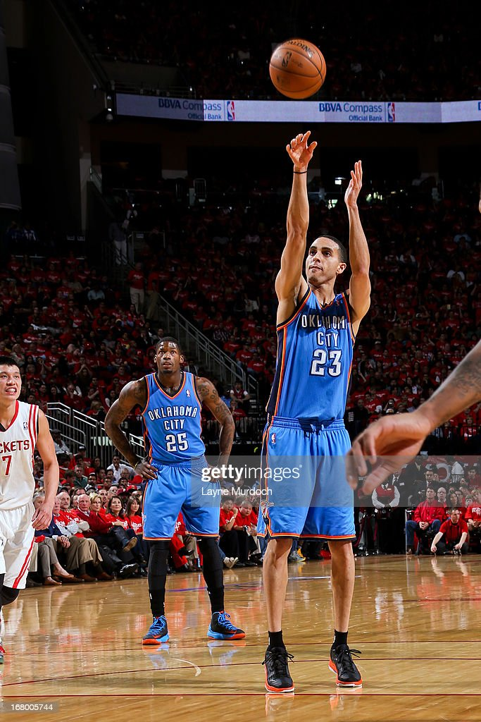 Kevin Martin #23 of the Oklahoma City Thunder shoots a free-throw against the Houston Rockets in Game Six of the Western Conference Quarterfinals during the 2013 NBA Playoffs on May 3, 2013 at the Toyota Center in Houston, Texas.