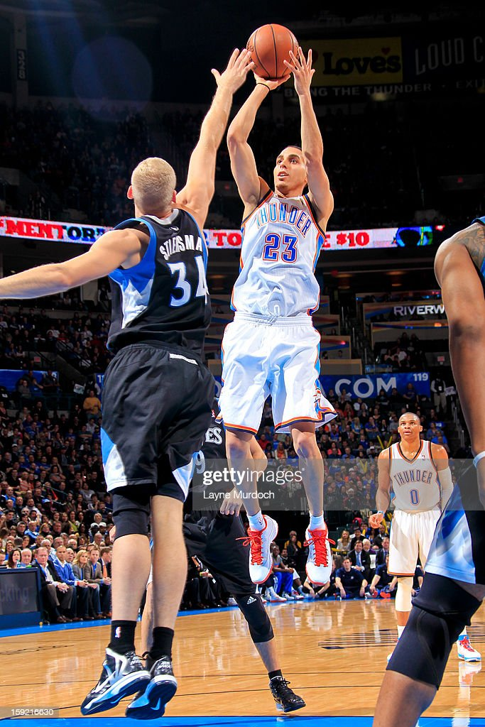 Kevin Martin #23 of the Oklahoma City Thunder shoots against Greg Stiemsma #34 of the Minnesota Timberwolves on January 9, 2013 at the Chesapeake Energy Arena in Oklahoma City, Oklahoma.