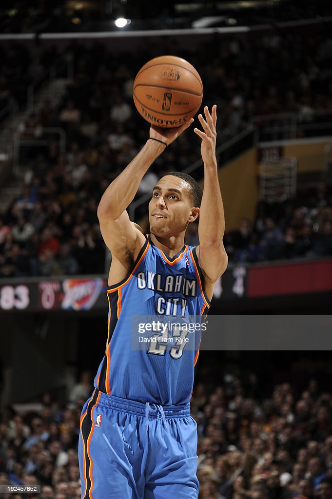 Kevin Martin #23 of the Oklahoma City Thunder takes a wideopen shot against the Cleveland Cavaliers at The Quicken Loans Arena on February 2, 2013in Cleveland, Ohio.