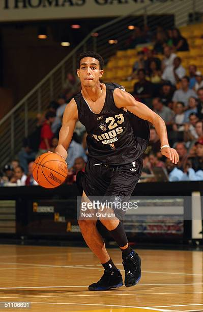 Kevin Martin of the Sacramento Kings dribble drives to the basket during the 2004 Southern California Summer League game against the Los Angeles...