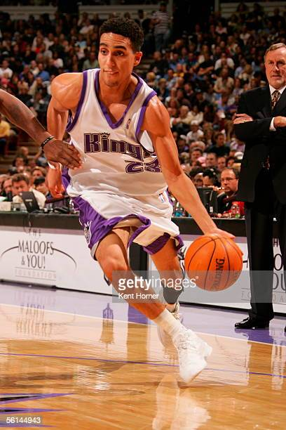 Kevin Martin of the Sacramento Kings drives to the basket for two of his 12 firsthalf points against the Denver Nuggets November 11 2005 at the ARCO...