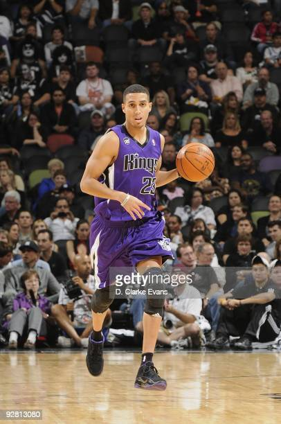 Kevin Martin of the Sacramento Kings moves the ball against the San Antonio Spurs during the game on October 31 2009 at the ATT Center in San Antonio...