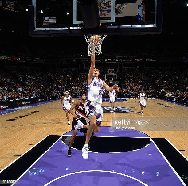 Kevin Martin of the Sacramento Kings takes the ball to the basket during the game against the Portland Trail Blazers at Arco Arena on January 18 2005...