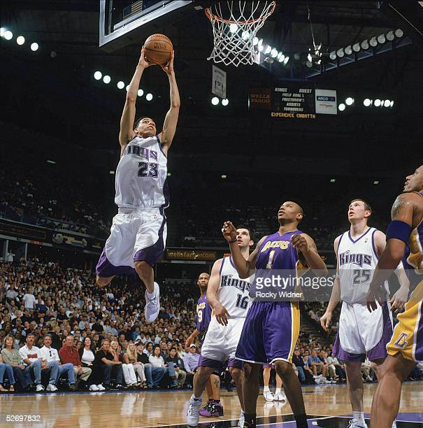 Kevin Martin of the Sacramento Kings takes the ball to the basket during the game against the Los Angeles Lakers at Arco Arena on April 10 2005 in...