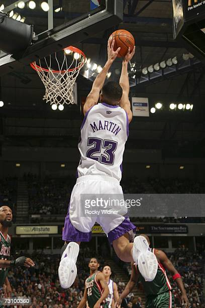 Kevin Martin of the Sacramento Kings takes the ball to the basket against the Milwaukee Bucks on January 24 2007 at ARCO Arena in Sacramento...