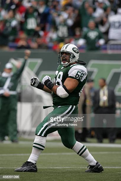 Kevin Mawae of the Tampa Bay Buccaneers celebrates after the score during a game against the New York Jets on October 09 2005 at the Meadowlands...