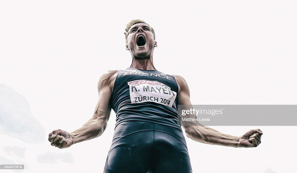 Kevin Mayer of France celebrates a throw in the Decathlon Shot Putt during day one of the 22nd European Athletics Championship at Stadium Letzigrund on August 12, 2014 in Zurich, Switzerland.
