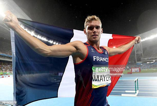 Kevin Mayer of France celebrates after the Men's Decathlon 1500m and winning silver overall on Day 13 of the Rio 2016 Olympic Games at the Olympic...