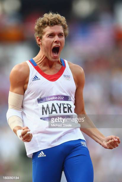 Kevin Mayer of France celebrates during the Men's Decathlon Javelin Throw on Day 13 of the London 2012 Olympic Games at Olympic Stadium on August 9...