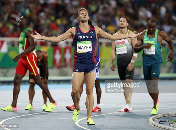 Kevin Mayer of France celebrates the silver medal in the Men's Decathlon following the 1500m on day 13 of the Rio 2016 Olympic Games at Olympic...