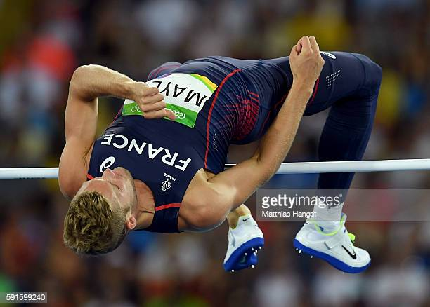 Kevin Mayer of France competes in the Men's Decathlon High Jump on Day 12 of the Rio 2016 Olympic Games at the Olympic Stadium on August 17 2016 in...