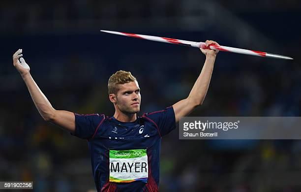 Kevin Mayer of France competes in the Men's Decathlon Javelin Throw on Day 13 of the Rio 2016 Olympic Games at the Olympic Stadium on August 18 2016...
