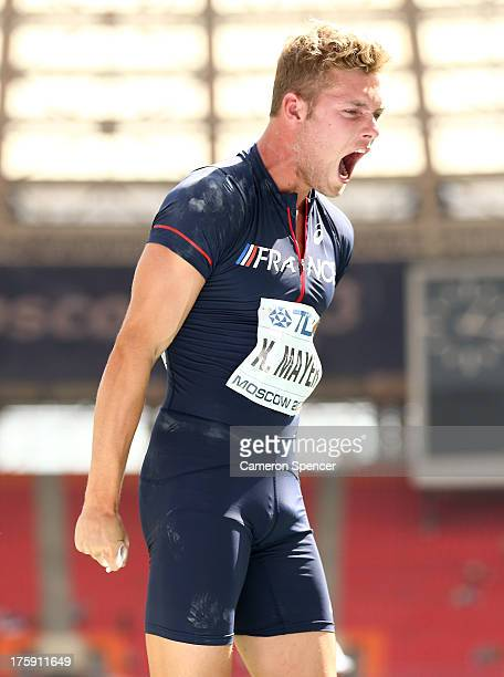 Kevin Mayer of France competes in the Men's Decathlon Shot Put during Day One of the 14th IAAF World Athletics Championships Moscow 2013 at Luzhniki...
