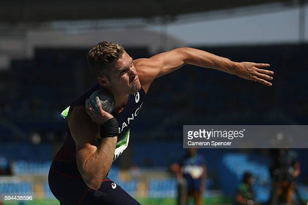 Kevin Mayer of France competes in the Men's Decathlon Shot Put on Day 12 of the Rio 2016 Olympic Games at the Olympic Stadium on August 17 2016 in...