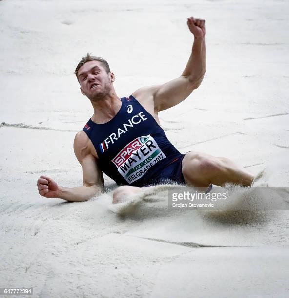 Kevin Mayer of France competes in the Men's Heptathlon Long Jump during day two of the 2017 European Athletics Indoor Championships at Kombank Arena...