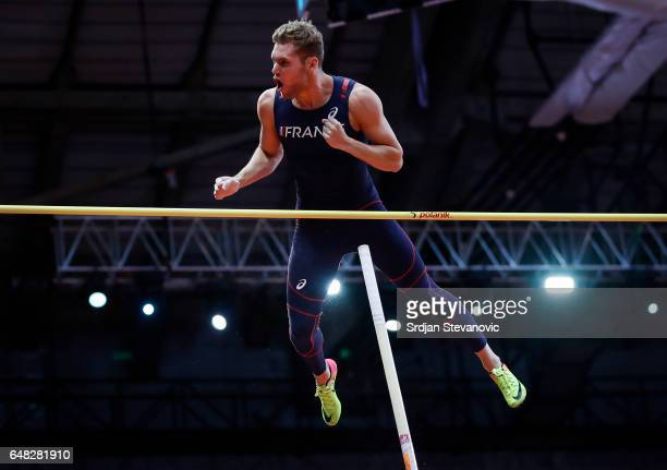 Kevin Mayer of France competes in the Men's Heptathlon Pole Vault on day three of the 2017 European Athletics Indoor Championships at the Kombank...