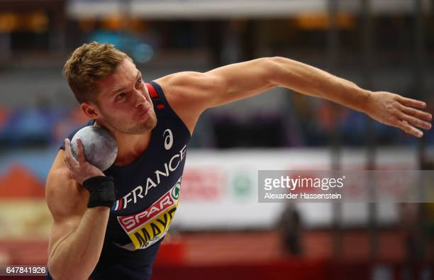 Kevin Mayer of France competes in the Men's Heptathlon Shot Put on day two of the 2017 European Athletics Indoor Championships at the Kombank Arena...