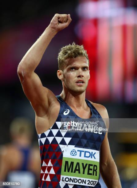 Kevin Mayer of France gold celebrates after the the Men's Decathlon 1500 metres during day nine of the 16th IAAF World Athletics Championships London...