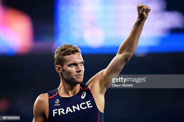 Kevin Mayer of France reacts after competing in the Men's Decathlon 400m on Day 12 of the Rio 2016 Olympic Games at the Olympic Stadium on August 17...