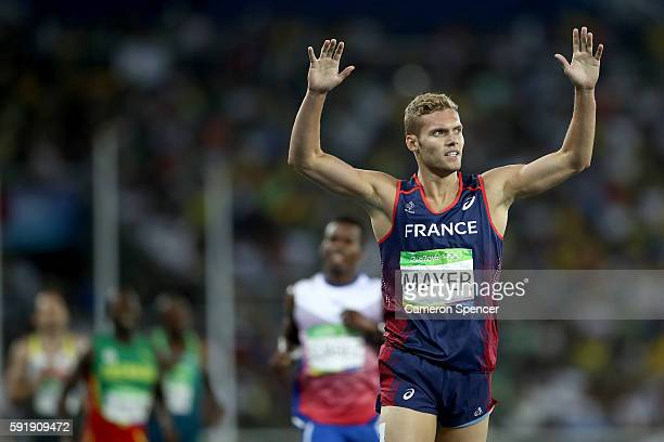 Kevin Mayer of France reacts after the Men's Decathlon 1500m and winning silver overall on Day 13 of the Rio 2016 Olympic Games at the Olympic...