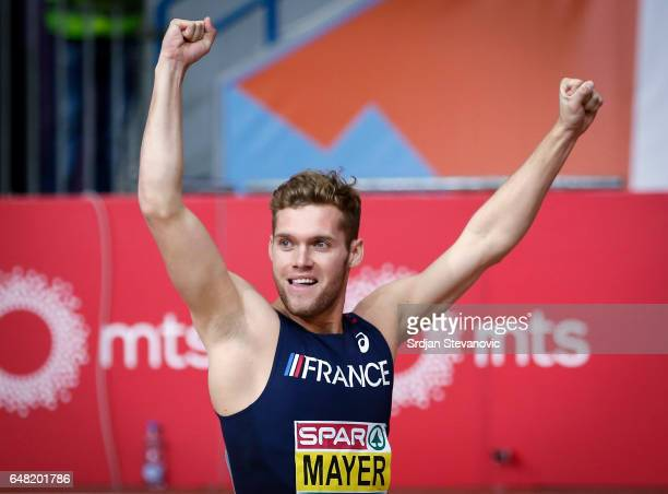 Kevin Mayer of France reacts after the Men's Heptathlon 60 metres hurdles on day three of the 2017 European Athletics Indoor Championships at the...