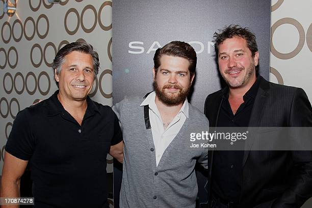 Kevin Mazur CoFounder of WireImage producer Jack Osbourne and Jonathan BlockVerk President and CEO of PromaxBDA attend PROMAXBDA 2013 at JW Marriott...