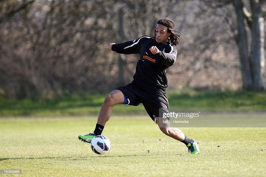 <a gi-track='captionPersonalityLinkClicked' href=/galleries/search?phrase=Kevin+Mbabu&family=editorial&specificpeople=10178220 ng-click='$event.stopPropagation()'>Kevin Mbabu</a> in action during a Newcastle United training session at the Little Benton training ground on February 28, 2013 in Newcastle upon Tyne, England.
