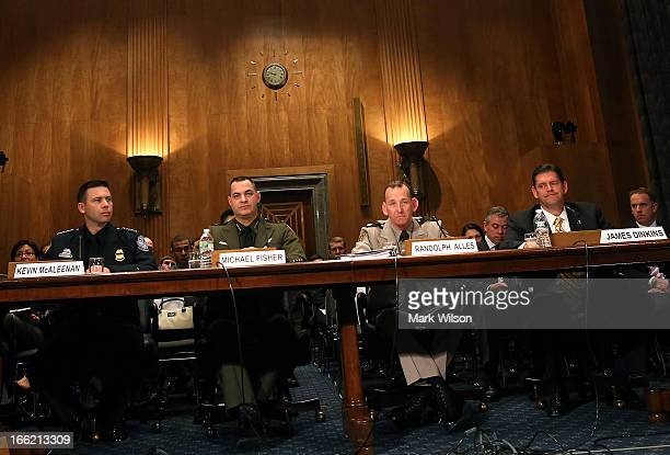 Kevin McAleenan of US Customs and Border Protection Michael Fisher chief of the US Border Patrol Randolph Alles of the Customs and Border...