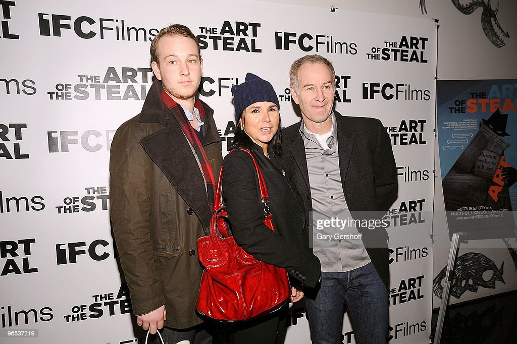 Kevin McEnroe singer Patti Smyth and former tennis champion John McEnroe attend the 'The Art of The Steal' New York premiere at MOMA on February 9...