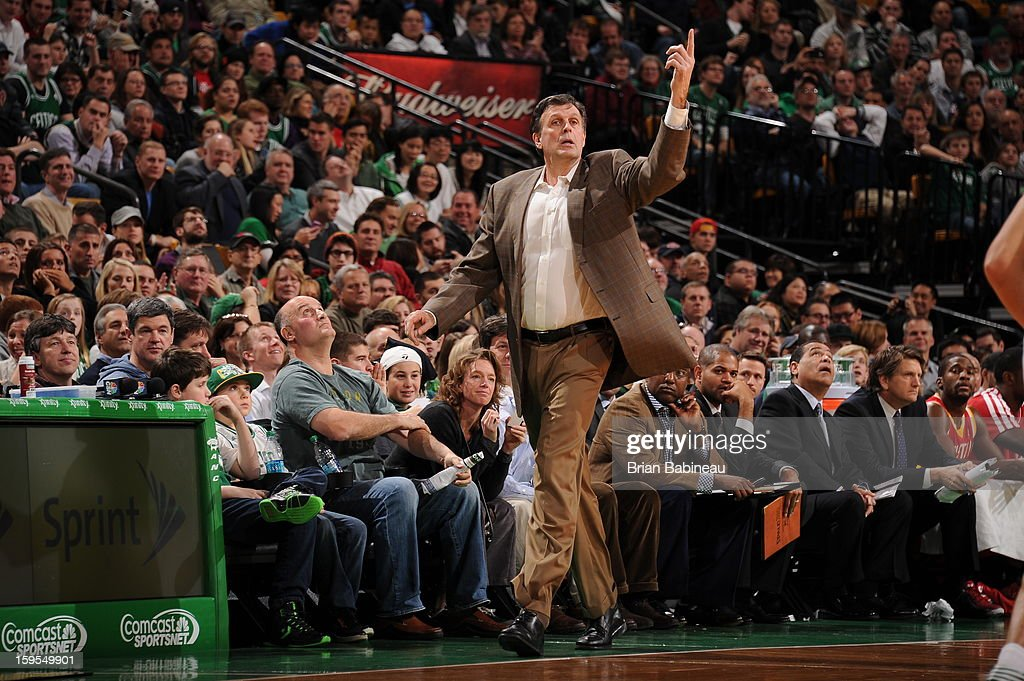 <a gi-track='captionPersonalityLinkClicked' href=/galleries/search?phrase=Kevin+McHale+-+Jogador+de+basquetebol&family=editorial&specificpeople=212851 ng-click='$event.stopPropagation()'>Kevin McHale</a>, Head Coach of the Houston Rockets, directs his team during the game against the Boston Celtics on January 11, 2013 at the TD Garden in Boston, Massachusetts.
