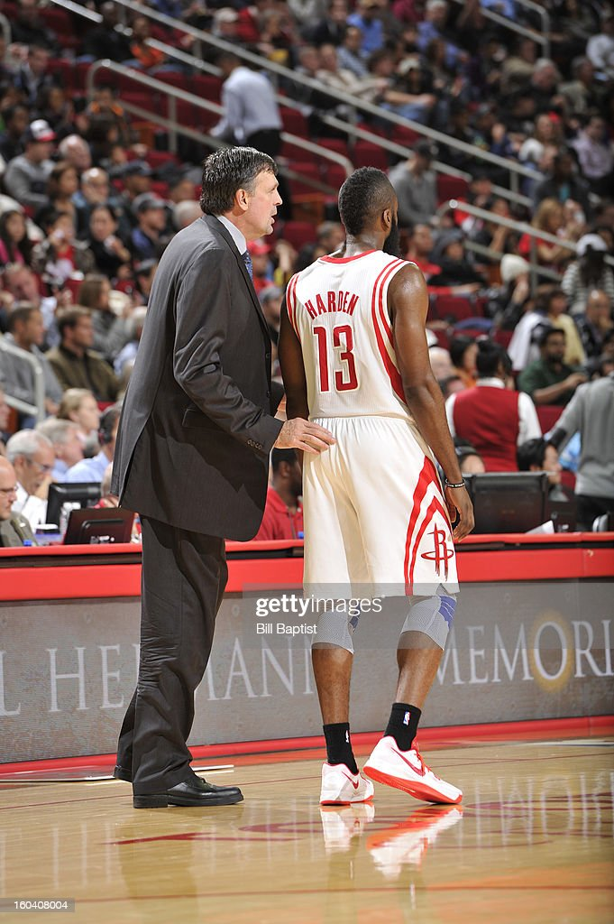 Kevin McHale, Head Coach of the Houston Rockets, shares a word with <a gi-track='captionPersonalityLinkClicked' href=/galleries/search?phrase=James+Harden&family=editorial&specificpeople=4215938 ng-click='$event.stopPropagation()'>James Harden</a> #13 during the game against the Los Angeles Clippers on January 15, 2013 at the Toyota Center in Houston, Texas.