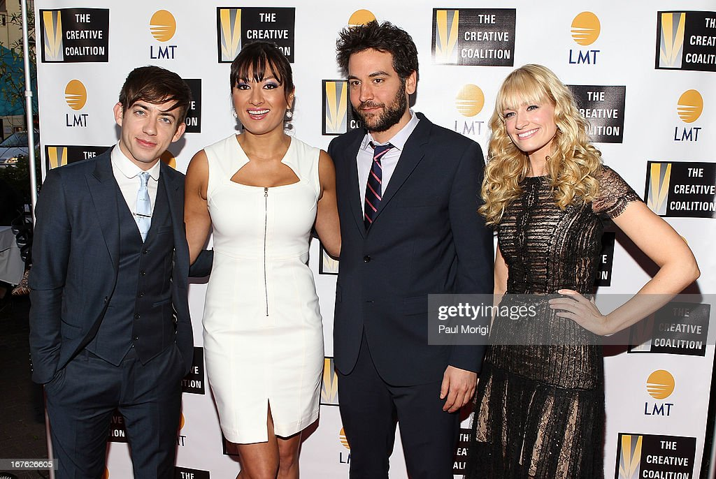 Kevin McHale, Lani Hay, <a gi-track='captionPersonalityLinkClicked' href=/galleries/search?phrase=Josh+Radnor&family=editorial&specificpeople=599413 ng-click='$event.stopPropagation()'>Josh Radnor</a> and <a gi-track='captionPersonalityLinkClicked' href=/galleries/search?phrase=Beth+Behrs&family=editorial&specificpeople=6556378 ng-click='$event.stopPropagation()'>Beth Behrs</a> attend the Celebrating The Arts In American Dinner Party With Distinguished Women In Media Presen The Creative Coalition's and Lanmark Technology Inc.'s celebration of the Arts in America at Neyla on April 26, 2013 in Washington, DC.