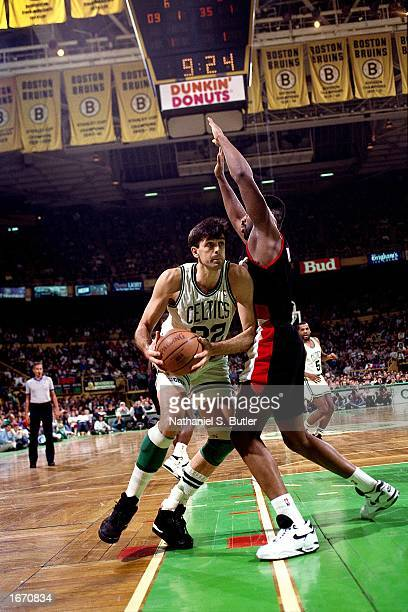 Kevin McHale of the Boston Celtics drives to the basket during the 1992 NBA game against the Portland Trail Blazers at the Boston Garden in Boston...